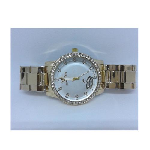 relogio importado quartzo feminino pulseira dourada inox
