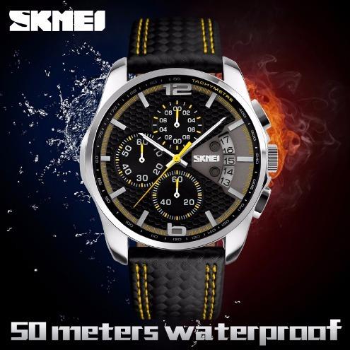 relógio importado skmei® pulseira de couro com cronógrafo