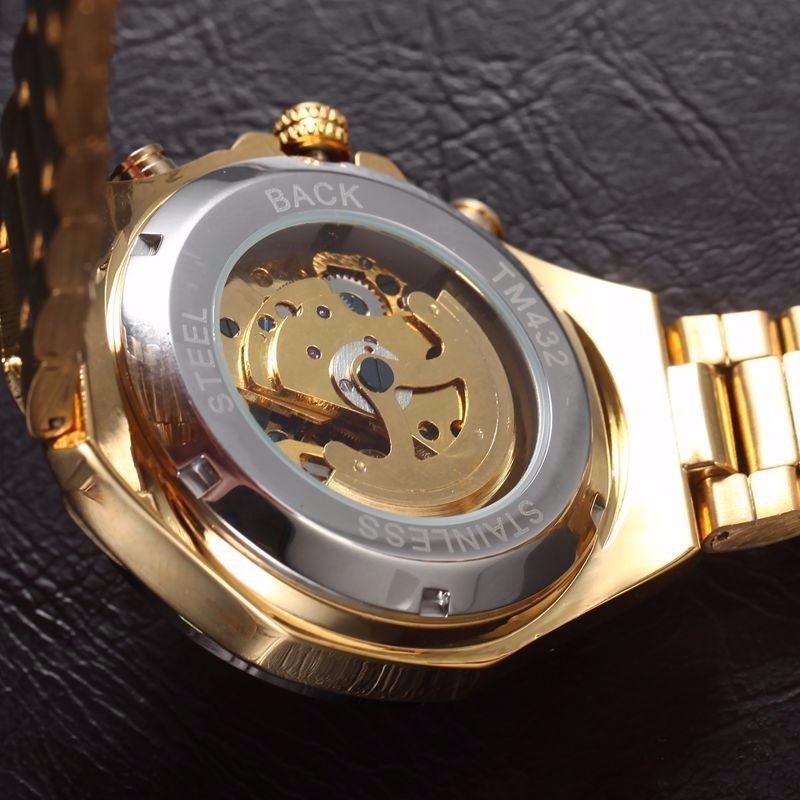 0c69ff92cf8 relógio importado winner skeleton automático ouro dourado. Carregando zoom.