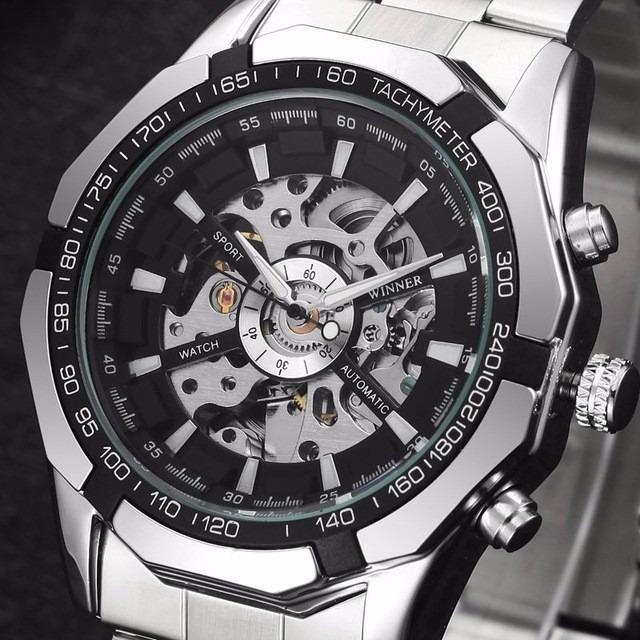 68c51ab48c0 Relógio Importado Winner Skeleton Automático Super Oferta - R  94