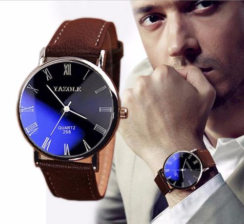 relógio importado yazole japão couro masculino frete grátis