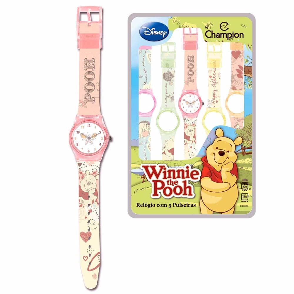 6777e19314f Relógio Infantil Analogico 5 Pulseiras Champion Disney Pooh - R  129 ...