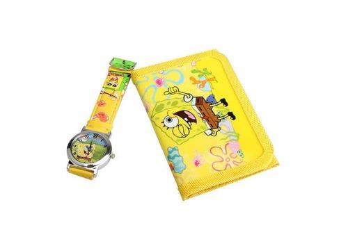 relógio infantil bonito bob esponja e carteira de brinde top