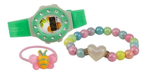 relógio infantil digital kids ajustável + pulseira ri15