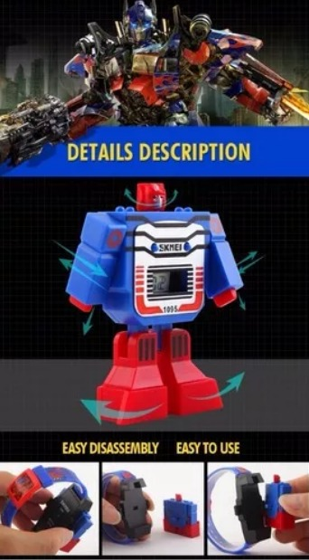 6e7381e4b Relógio Infantil Digital Transformers Robo Skmei 1095 - R$ 73,70 em ...