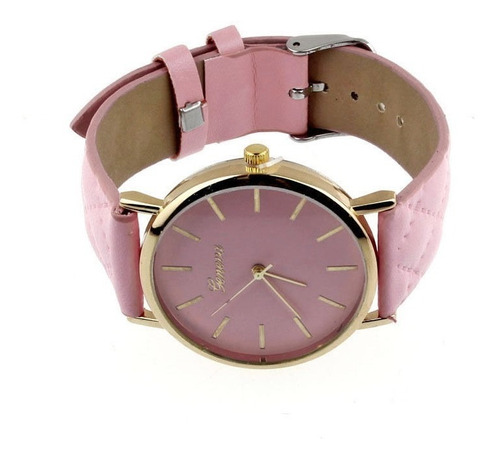 relógio infantil / juvenil unisex geneva pulseira couro pink