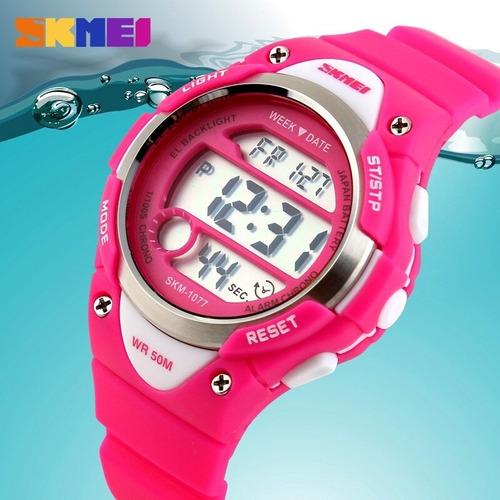 relógio infantil masculino feminino skmei 1077 em promoção