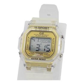 Relógio Infantil Masculino Original Barato Dourado C/ Alarme