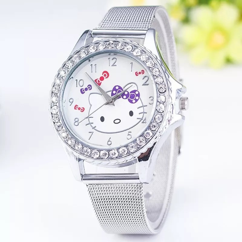 7bc18a672db relógio infantil meninas hello kitty pulseira de aço. Carregando zoom.