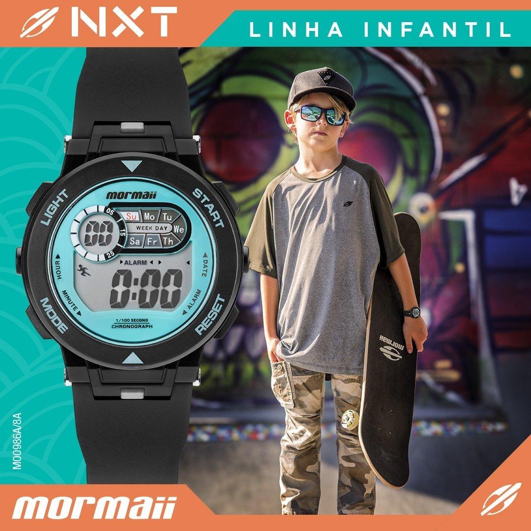 Relógio Infantil Mormaii Nxt Preto Original C nf Mo0986a 8a - R  160 ... 745c6116ec