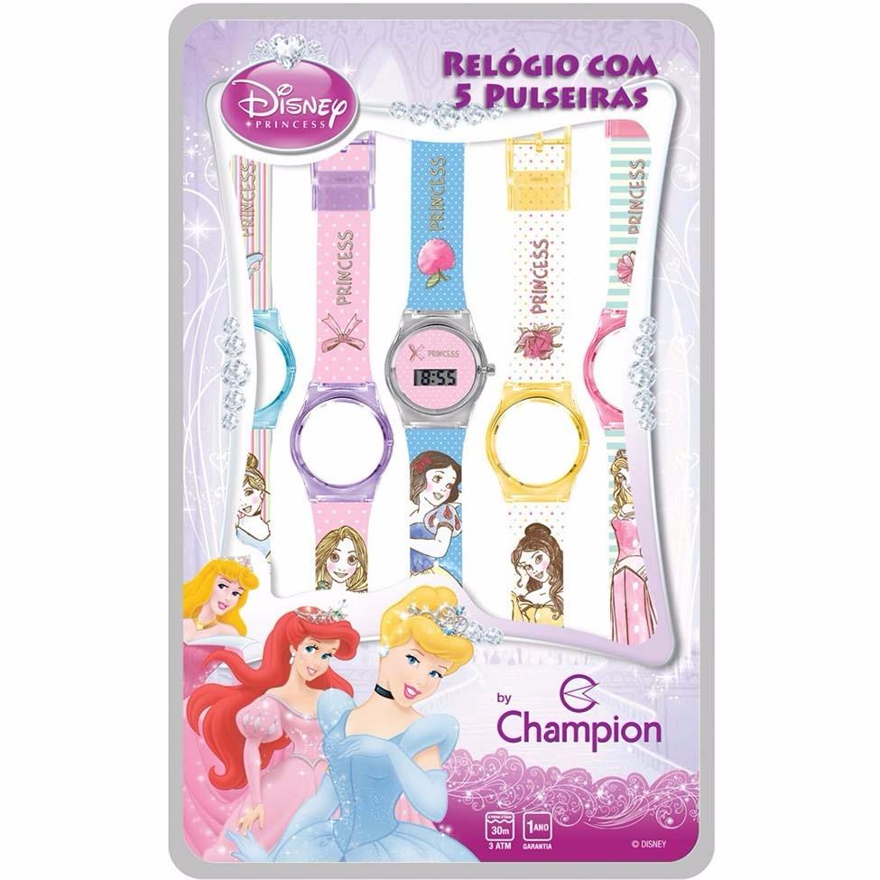 01abbf207f3 Relógio Infantil Troca Pulseiras Champion Princesas Feminino - R  149