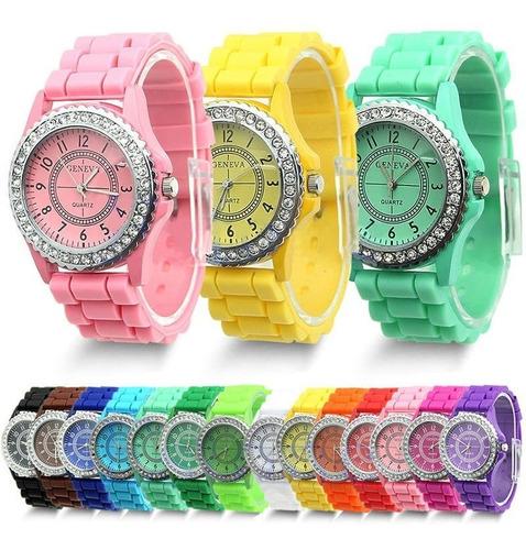 relógio infantil unisex geneva cristal pulseira emborr azul