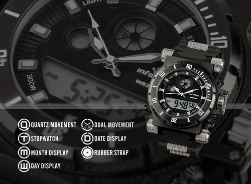 relógio infantry mens digital data quartz sport alarm milita
