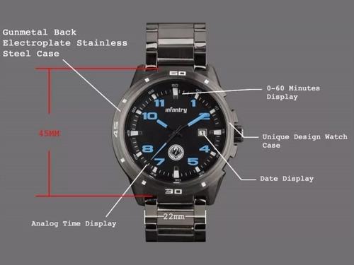 relógio infantry original preto com azul + frete grátis