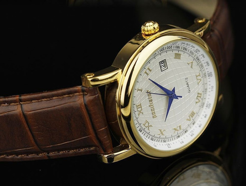 relógio infantry quartz pacifistor luxo pulseira couro marro