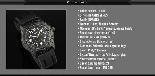 relógio infantry quartz wrist sport stain na caixa importado