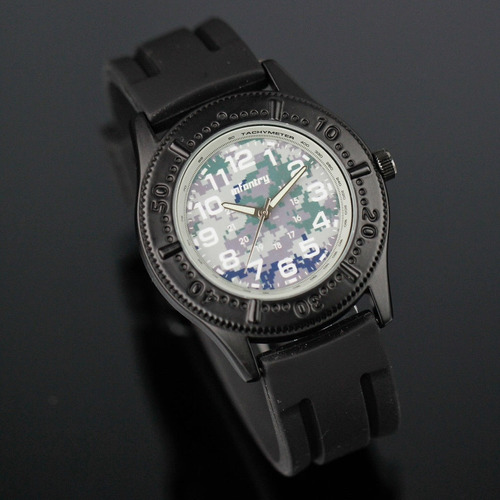 relógio infantry quartz wrist sport stain pulseira borracha