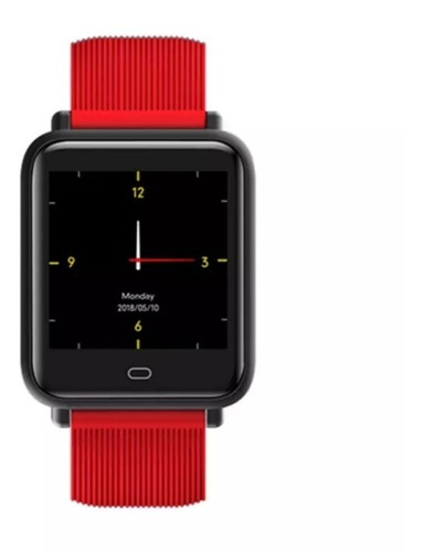 relógio inteligente q9 c/ 2 pulseiras preto/vermelho top