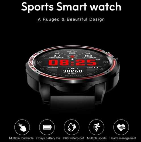 relógio inteligente smartwatch l8 sport tracker android e ios