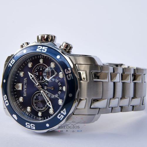 relógio invicta 0070 21921 black friday aço prata most. azul