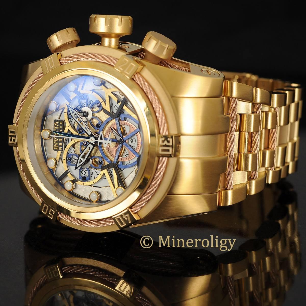 e1b06ab8e2f relógio invicta 13757 bolt zeus original gold azul skeleton. Carregando  zoom.
