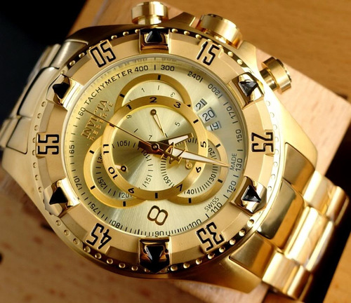 relogio invicta 14473 6471 reserve banhado ouro 18k original