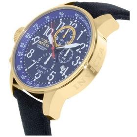 Relógio Invicta 1516 Dourado Ouro 18k Azul Couro * I Force