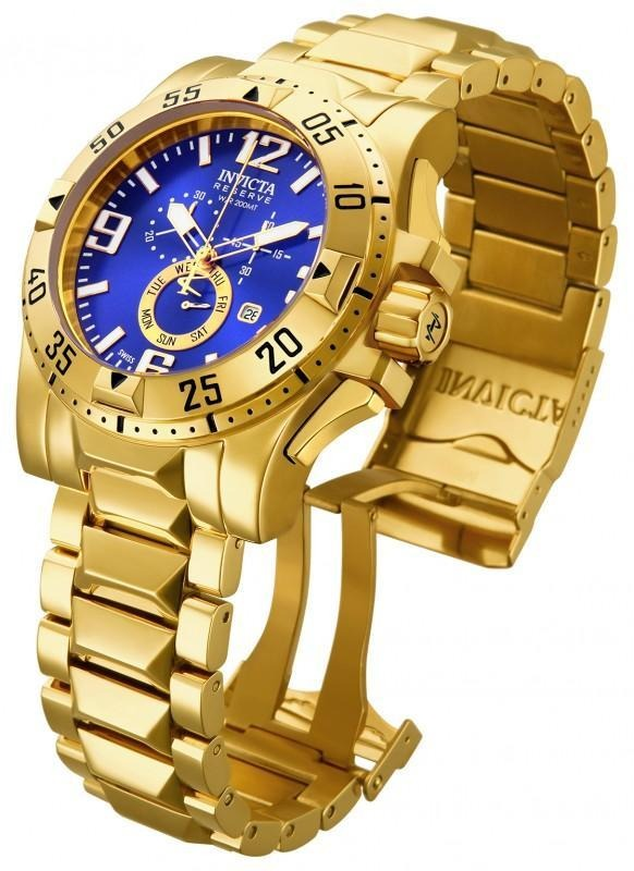 27cbc903e7d relógio invicta 15329 excursion 50mm banhado a ouro 18k. Carregando zoom.