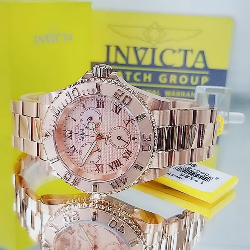 relógio invicta 17525 dourado rose 18k feminino # angel