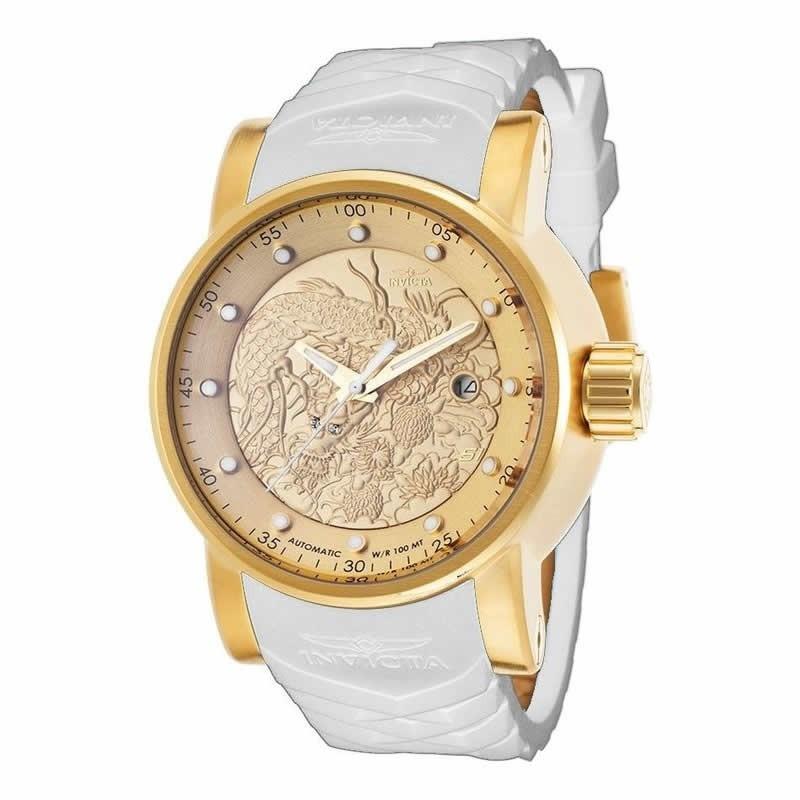 e90f00796fa relógio invicta 19546 s1 yakuza branco dourado 18k origina. Carregando zoom.
