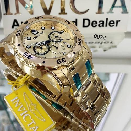 relógio invicta 21924/0074+bola original banhado ouro maleta