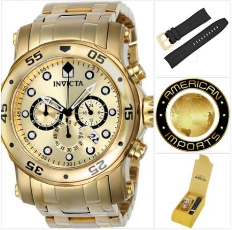 6aa4bbda239 Relógio Invicta 23652 0074 Original Banhado Ouro 18k - R  795