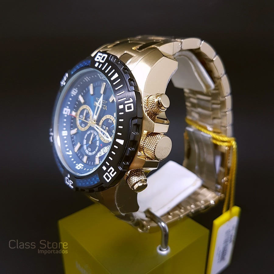 1a9f709e6f9 Relógio Invicta 24856 Pro Diver Banho Ouro 18k Most. Azul - R  689 ...