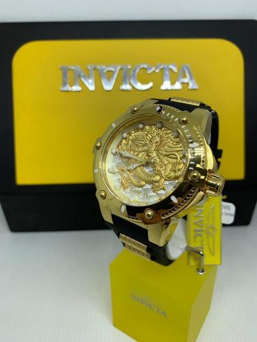 relógio invicta 25777 dourado ouro 18k dragão - speedway