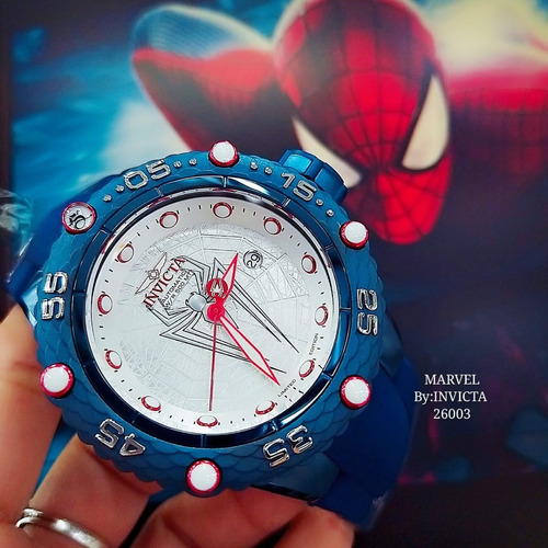 relógio invicta 26003 azul aço homem aranha top ## marvel