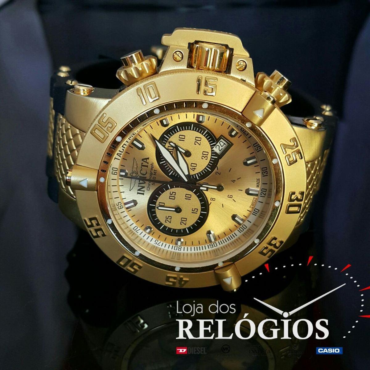 762878c1d88 relógio invicta 5517 subaqua noma dourado preto - original. Carregando zoom.