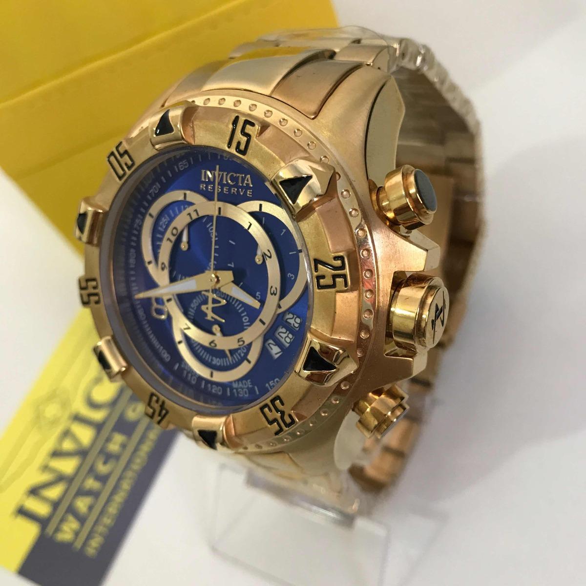 dd06ac77a9b relógio invicta 6469 excursion dourado fundo azul. Carregando zoom.
