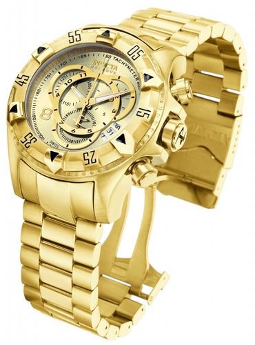 relógio invicta 6471 52mm excursion original dourado 18k
