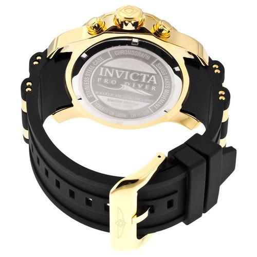 relógio invicta 6981 scuba diver preto banhado á ouro 18k