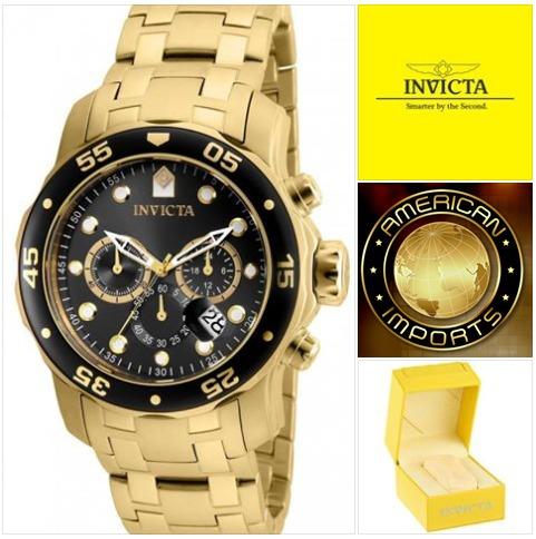3e66cec4029 Relógio Invicta 80064 (cinza) Banhado Ouro 18k Original - R  695