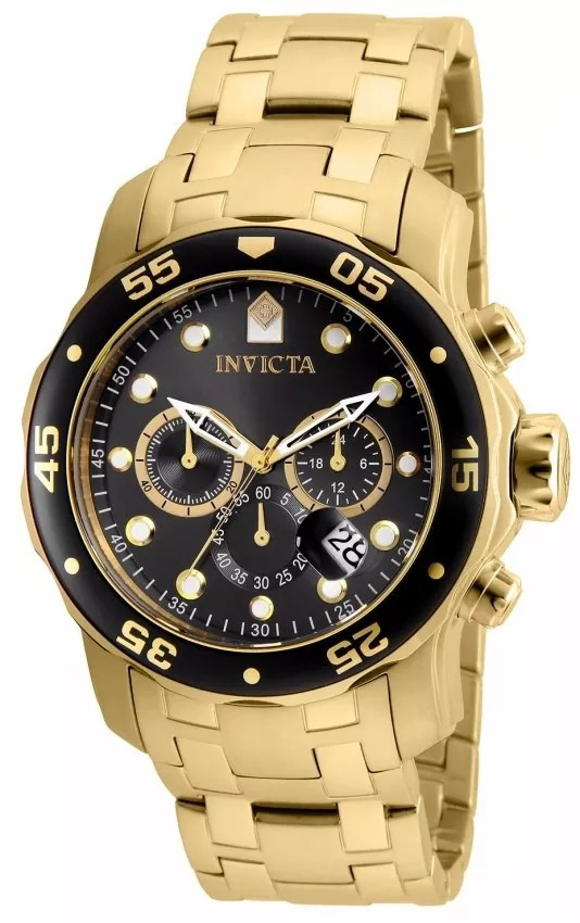 84ceec63afe relógio invicta 80064 pro diver masculino banhado ouro 18k. Carregando zoom.