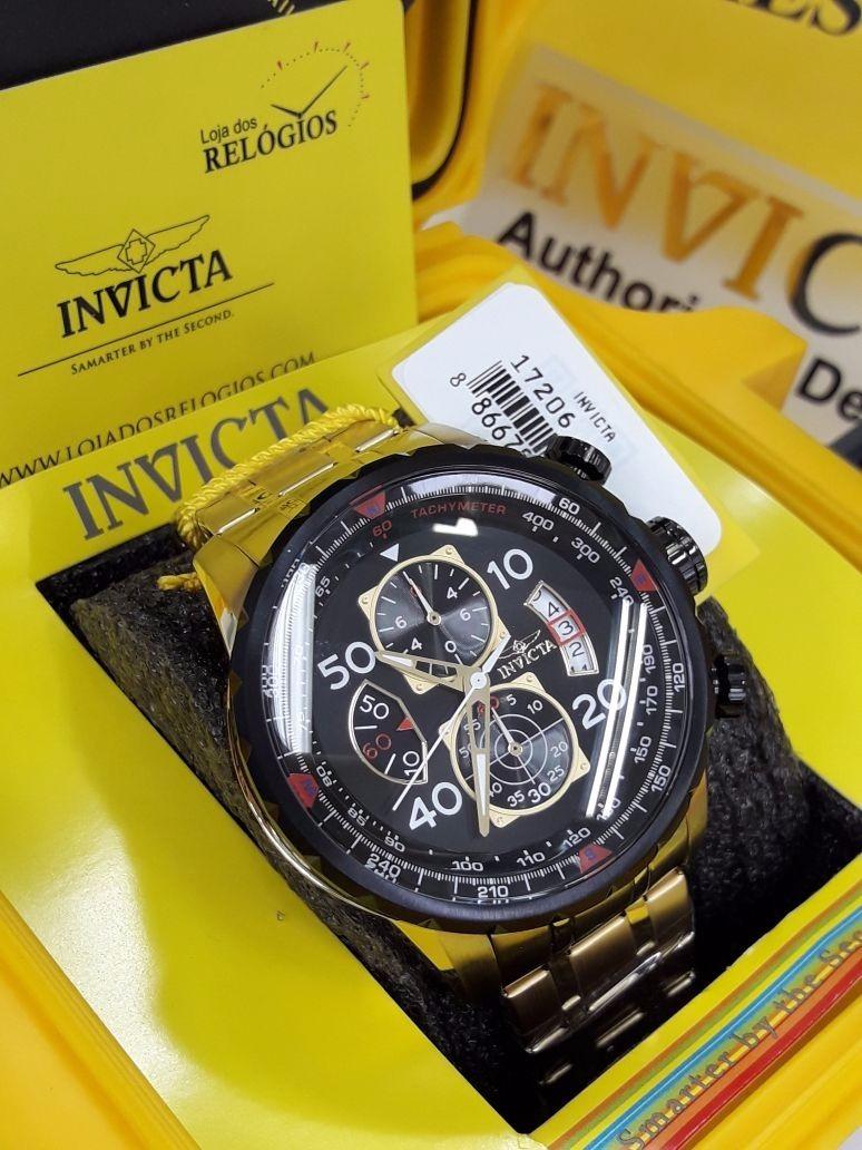 310c16b3a9c relógio invicta aviator 17206 - ouro 18k. Carregando zoom.