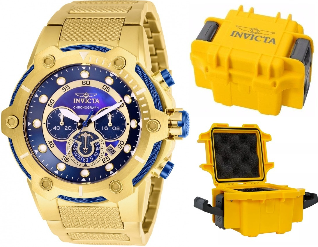35e8ec7ccd7 relógio invicta bolt 26812 original banhado ouro maleta. Carregando zoom.