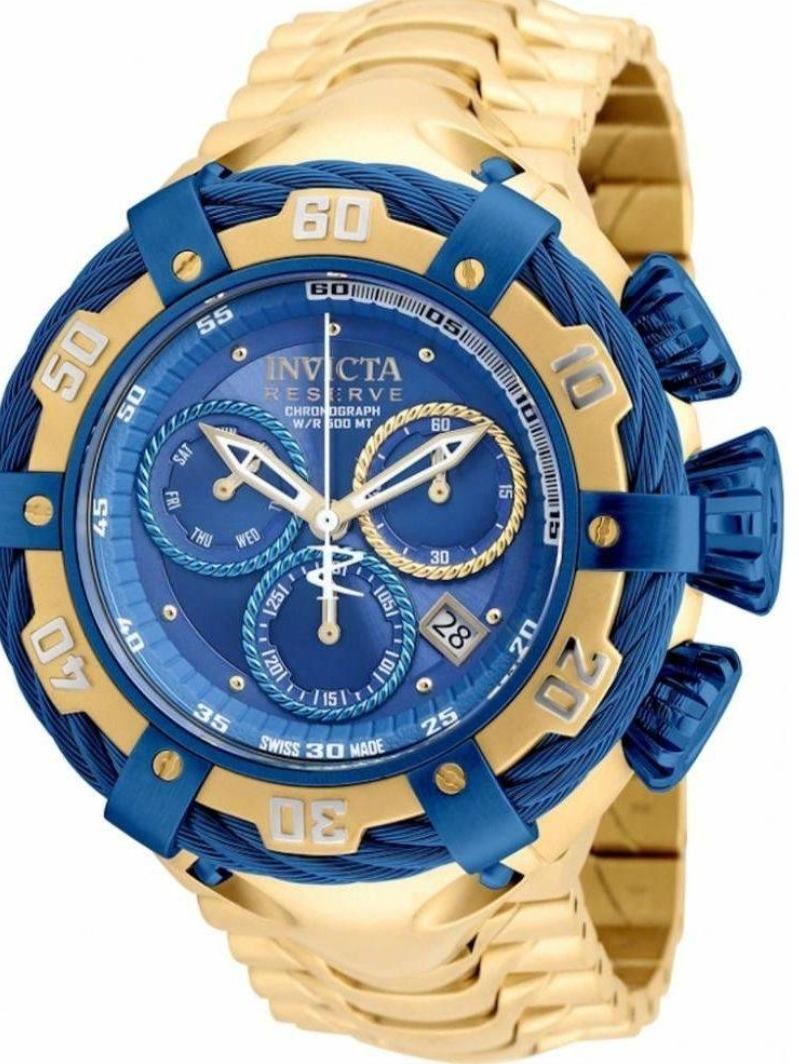 b5645b9bdd0 relógio invicta bolt modelo 21361 dourado   azul. Carregando zoom.