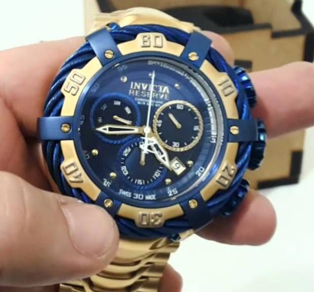 30bc7540000 Relogio Invicta Bolt Thunderbolt 21361 Gold Azul Com Caixa ! - R  664