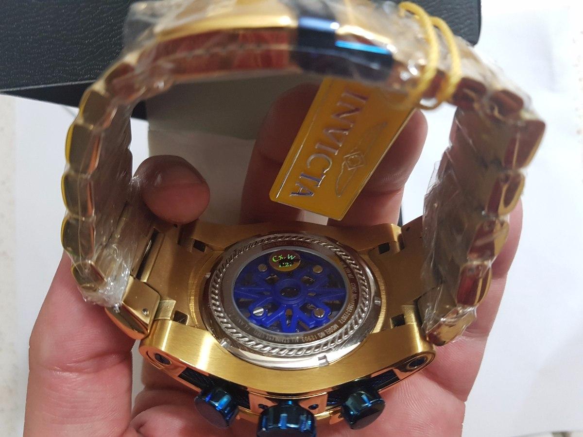 d72fe831c15 relógio invicta bolt zeus eskeleto dourado  azul + frete c77. Carregando  zoom.