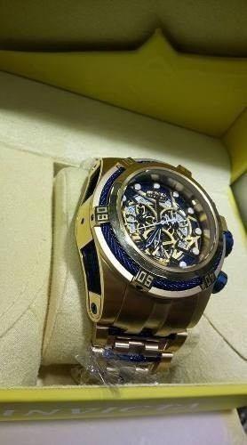 70d8afe9f33 Relogio Invicta Bolt Zeus Skeleton Dourado Azul Promocional