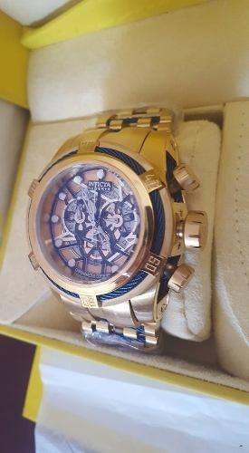 8372b240b21 Relogio Invicta Bolt Zeus Skeleton Dourado Azul Promoção !!!