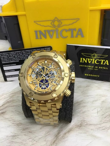relógio invicta cosc 12909 skeleton dourado prova dagua m8