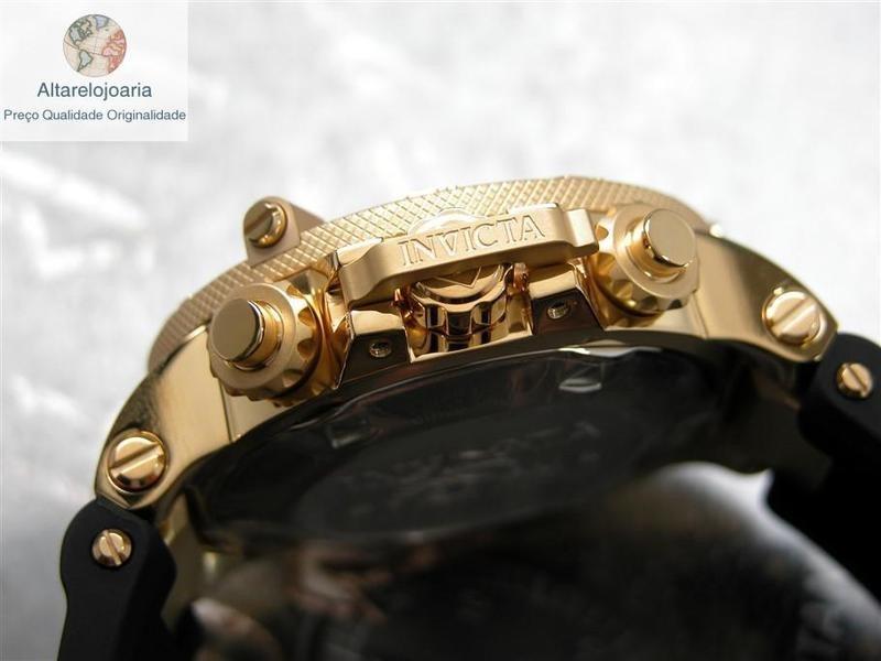 b6200a3317a relógio invicta cronógrafo subaqua suíço 5517 plaque ouro. Carregando zoom.